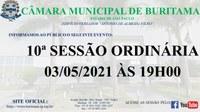 10ª SESSÃO ORDINÁRIA - 03/05/2021