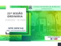 21ª SESSÃO ORDINÁRIA - 19H00 - 20/09/2021
