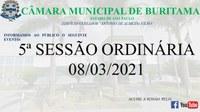 5ª SESSÃO ORDINÁRIA (08-03-2021)
