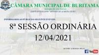 8ª SESSÃO ORDINÁRIA - 12/04/2021