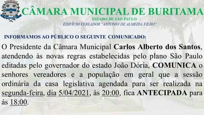7ª SESSÃO ORDINÁRIA - COMUNICADO