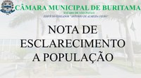 NOTA DE ESCLARECIMENTO A POPULAÇÃO