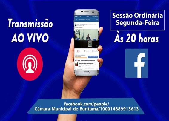Sessão ordinária, com transmissão ao vivo pelo Facebook